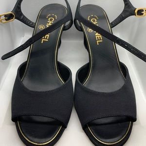 Chanel Wedges (Black/Pearl)